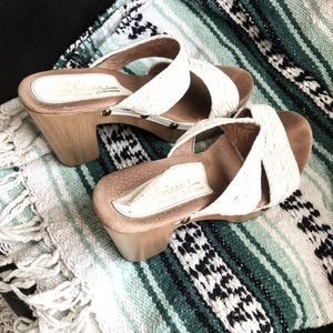 Sbicca platform sandals with braided straps